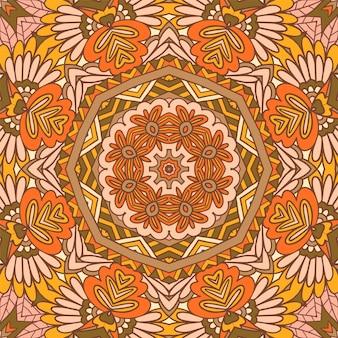 Projeto do teste padrão da flor da mandala étnica indiana tribal. ornamento colorido festivo