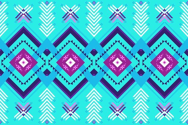 Projeto do teste padrão étnico tradicional sem emenda do ikat oriental geométrico azul brilhante para o fundo, tapete, pano de fundo do papel de parede, roupas, embrulho, batik, tecido. estilo de bordado. vetor