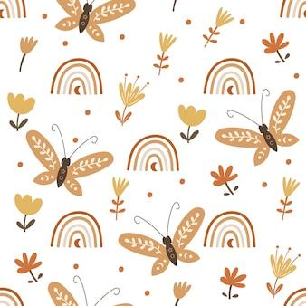 Projeto do teste padrão sem emenda com elementos florais e borboletas. ilustração vetorial.