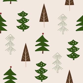 Projeto do teste padrão sem emenda de natal com árvores. ilustração vetorial.