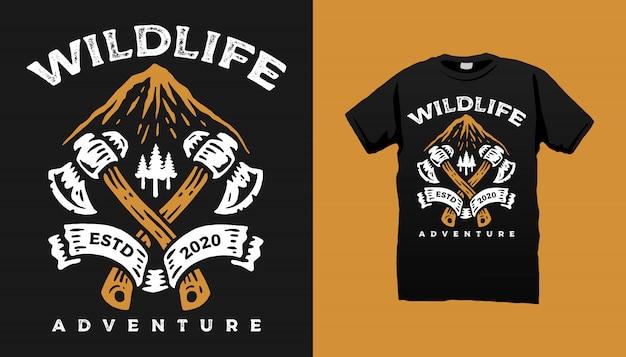 Projeto do tshirt da montanha dos animais selvagens