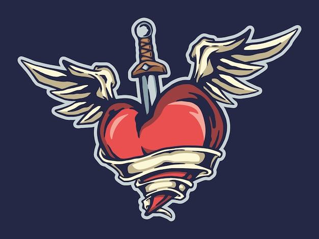 Projeto do tshirt do coração e da espada do vôo