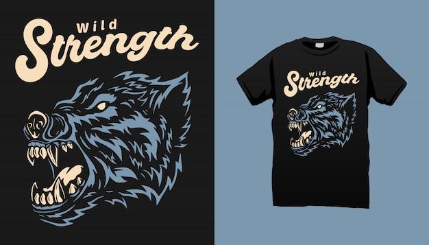Projeto do tshirt do lobo do animal