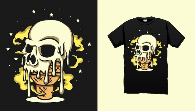 Projeto do tshirt do sorvete do crânio