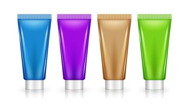Projeto do tubo cosmético lilás em branco definir maquete. creme de beleza ou embalagem plástica de gel.