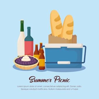 Projeto do verão do piquenique com as garrafas do refrigerador e da bebida sobre o fundo azul, projeto colorido. vector il