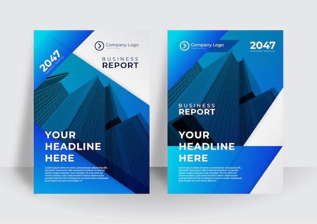 Projeto do vetor do folheto de negócios de capa azul. folheto que anuncia o fundo abstrato. modelo de layout de revista de pôster moderno