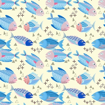 Projeto do vetor dos peixes na matéria têxtil sem emenda da tela do teste padrão do fundo amarelo.