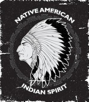 Projeto do vintage do espírito do nativo americano