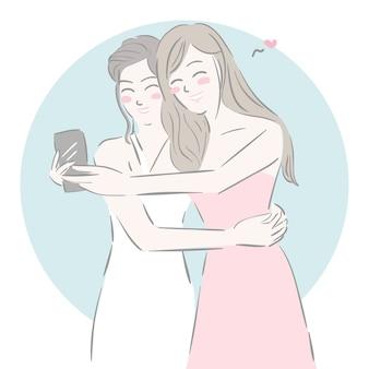 Projeto dos desenhos animados com meninas tomando uma selfie, amigos.