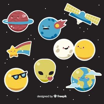 Projeto dos desenhos animados de coleção de adesivo de espaço