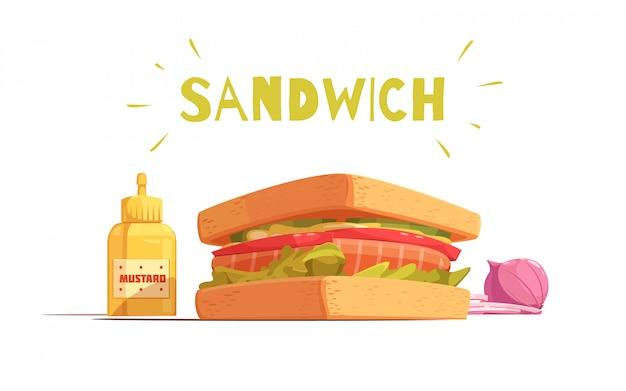 Projeto dos desenhos animados de sanduíche com torradas salada de tomate salmão cortada a cebola e mostarda