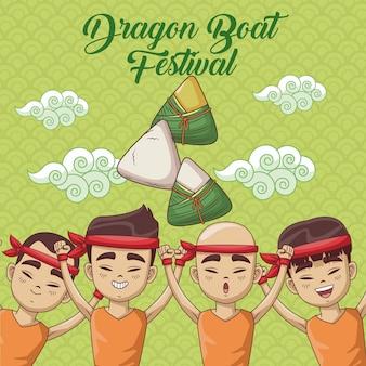 Projeto dos desenhos animados do festival de barco de dragão