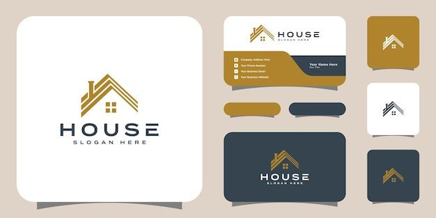 Projeto e cartão de visita do logotipo da casa