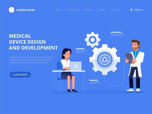 Projeto e desenvolvimento de dispositivos médicos conceito de ciência ideia de educação e inovação ilustração em vetor plana