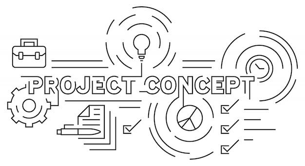 Projeto e linha de design plano de tema de negócios
