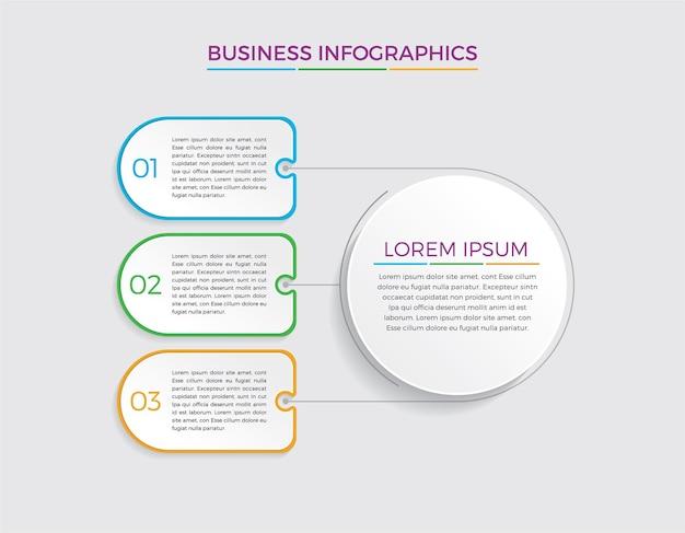 Projeto e marketing de infográfico. conceito de negócio com 3 opções, etapas ou processos.
