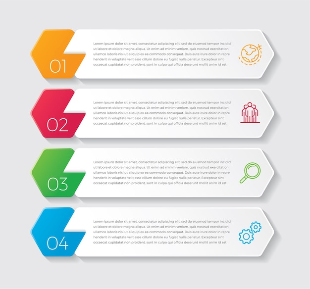 Projeto e marketing de infográfico. conceito de negócio com 4 opções, etapas ou processos.
