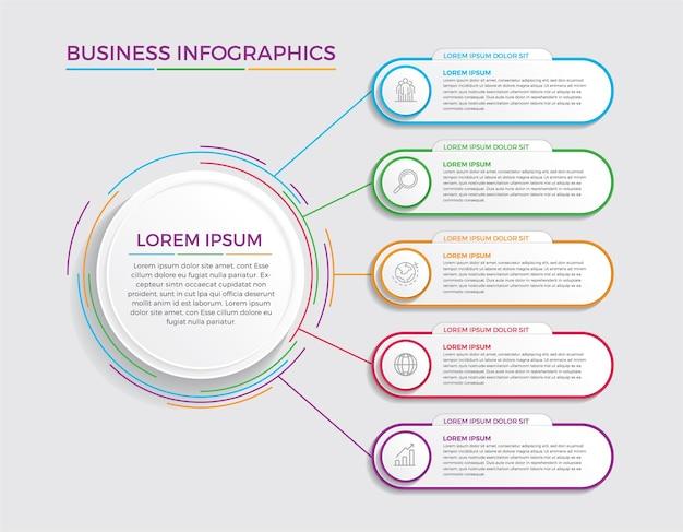 Projeto e marketing de infográfico. conceito de negócio com 5 opções, etapas ou processos.