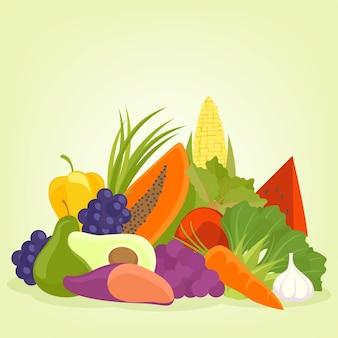 Projeto e plano de fundo frutas e legumes
