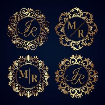 Projeto elegante da coleção do monograma do casamento