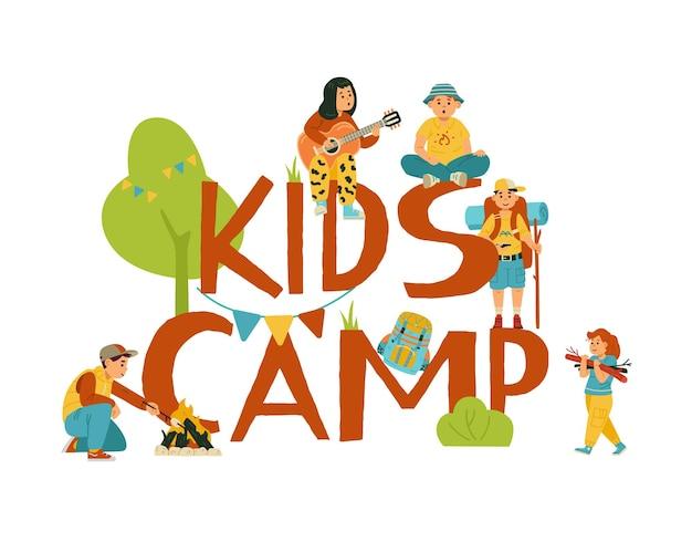 Projeto emblema para crianças acampamento de verão uma ilustração vetorial plana dos desenhos animados