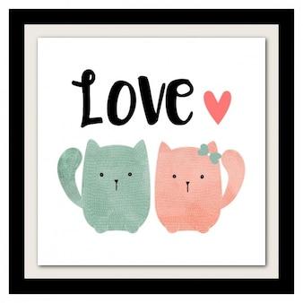 Projeto encantador gatos desenhado à mão