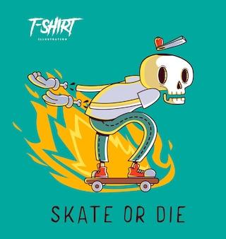Projeto engraçado da ilustração do esqueleto do skatista para camisetas