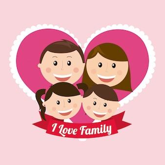 Projeto familiar sobre ilustração vetorial de fundo rosa