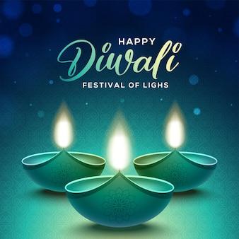 Projeto feliz de diwali com elementos de lâmpada de óleo diya em fundo azul, efeito bokeh cintilante