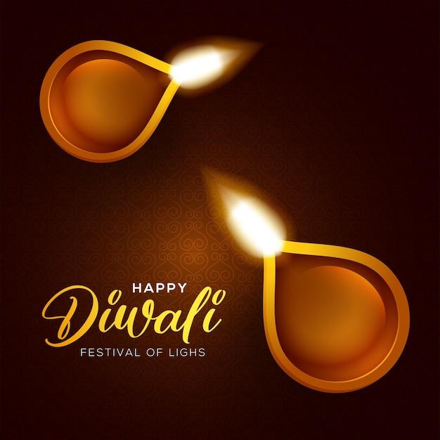 Projeto feliz de diwali com elementos de lâmpada de óleo diya em fundo marrom, efeito bokeh cintilante