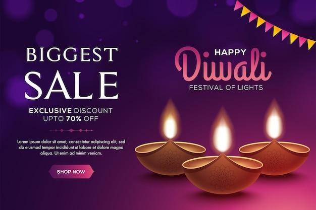 Projeto feliz de diwali sale com elementos de lâmpada de óleo diya em fundo rosa, efeito bokeh cintilante