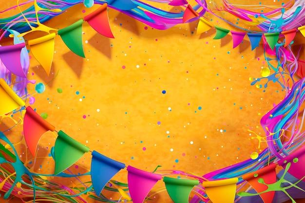 Projeto feliz do festival holi com respingos de tinta colorida e fundo de bandeiras
