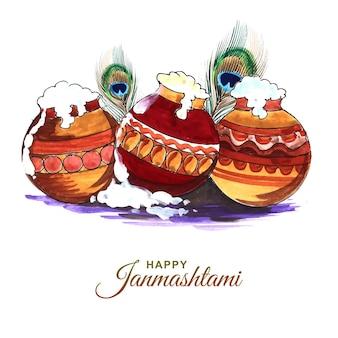 Projeto feliz do festival indiano janmashtami com matki e makhan