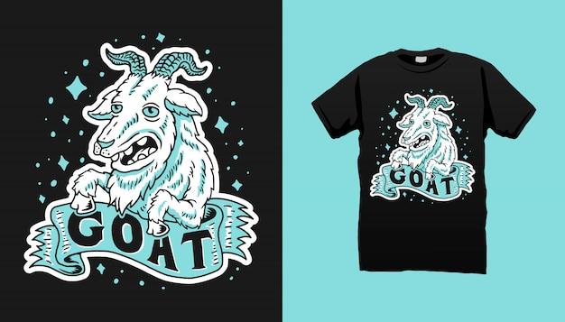 Projeto feliz do tshirt da cabra