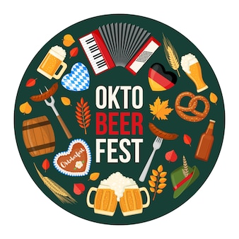 Projeto festival oktoberfest cerveja em estilo simples.