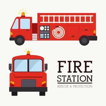 Projeto firefigther sobre ilustração vetorial de fundo branco
