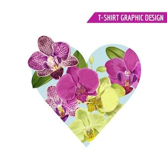 Projeto floral das flores tropicais do coração da mola