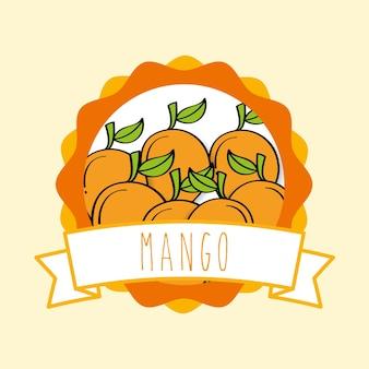 Projeto fresco do emblema orgânico da fruta natural da manga