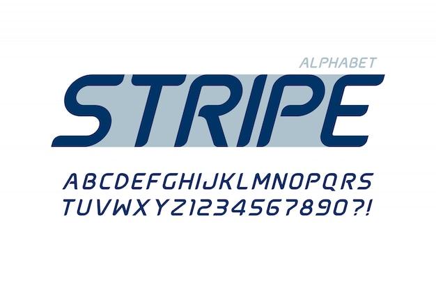 Projeto futurista do alfabeto, tipo de letra, letras e números.