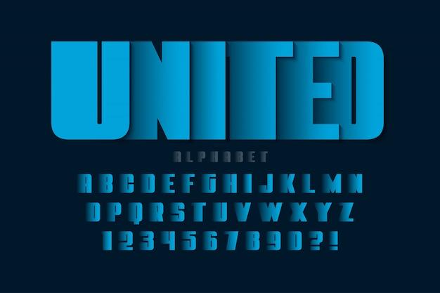 Projeto futurista do alfabeto, tipo de letra, letras e números