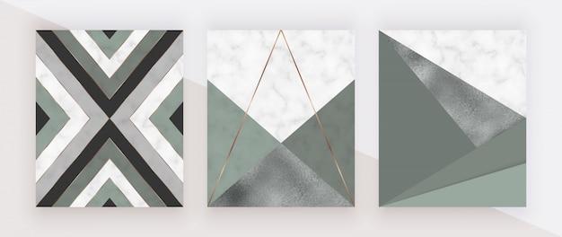 Projeto geométrico com formas triangulares verdes e da folha e linhas douradas na textura de mármore.