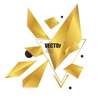 Projeto geométrico do polígono do ouro abstrato do fundo.