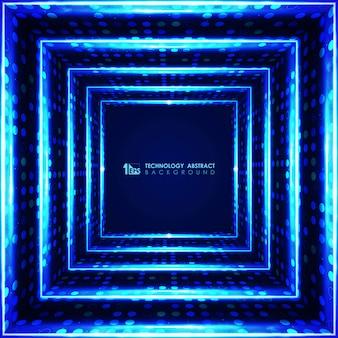 Projeto geométrico quadrado futurista azul moderno do fundo.