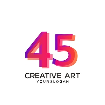 Projeto gradiente de logotipo 45 número colorido