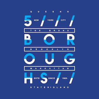 Projeto gráfico da camisa de t de cinco boroughs