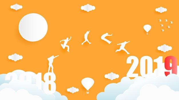 Projeto gráfico da ilustração do vetor do grupo de pessoas que salta do ano 2018 ao ano 2019.