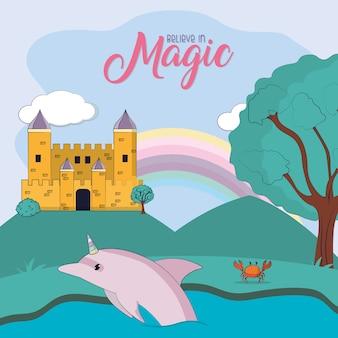 Projeto gráfico da ilustração mágica do vetor dos desenhos animados do castelo