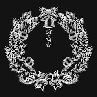 Projeto gráfico de decoração de grinalda de natal em quadro-negro em close up