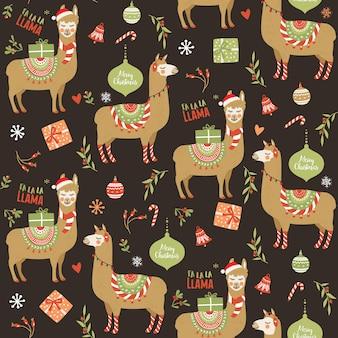 Projeto gráfico de vetor alpaca lhama bonito dos desenhos animados para o feriado de natal